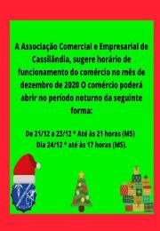 Sugestão de horários para abertura do comercio no final do ano